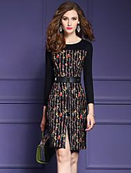 Gaine Robe Femme Sortie Chic de Rue,Imprimé Col Arrondi Mi-long Manches Longues Polyester Automne Taille Normale Micro-élastique Moyen