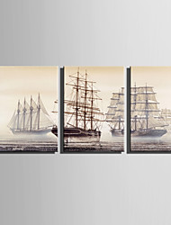 E-HOME Stretched Canvas Art  Sailing Retro Sailing Ship Decoration Painting Set Of 3