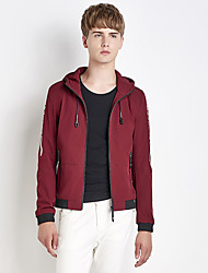 Men's Going out Casual/Daily Simple Street chic Fall Winter Jacket,Letter Hooded Long Sleeve Regular Nylon Spandex