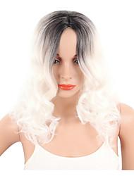 Mujer Pelucas sintéticas Sin Tapa Corto Rizado Ondulado Blanco Raya en medio Pelo Ombre Corte Pixie Peluca natural Las pelucas del traje