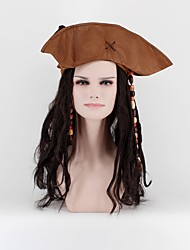 Jack Sparro Pirate Wig With Hats and Hair Accessories Beads Black Long Faux Locs Wig