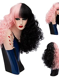 New Curly Hair Wigs Mix Color Half Black Half Pink Synthetic Wig Curly Afro Wigs Heat Resistance Cosplay Wigs For Women
