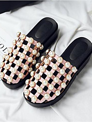 Women's Sandals Comfort PU Summer Casual Blushing Pink White 3in-3 3/4in