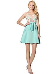 Princesa v-pescoço curto / mini vestido de festa cocktail cocktail com appliques