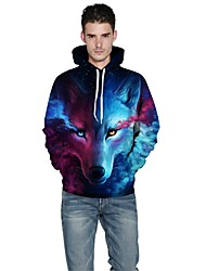 Men Realistic 3d Digital wolf Print Pullover Sports Outdoor Active Hoodie Hooded Inelastic Polyester Long Sleeve Spring Fall Rainbow