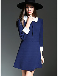 Women's Casual/Daily A Line Dress,Color Block Shirt Collar Above Knee Long Sleeves Polyester Spring Fall Mid Rise Inelastic Medium