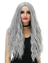 Cheap Women Synthetic Wig Long Blue Copper Brown Rose/Green Silver Blonde Pink Loose Wave Middle Part Party Costume Wigs For Halloween