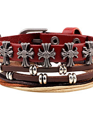 Муж. Wrap Браслеты Кожаные браслеты Богемия Стиль Регулируется По заказу покупателя Ручная работа Кожа Позолота Крестообразной формы