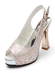 Femme Chaussures à Talons Marche Confort bottes slouch Polyuréthane Printemps Automne Décontracté Applique Talon Aiguille Blanc Rose2,5 à