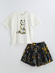 Girls' Print Sets,Cotton Summer Short Sleeve Clothing Set