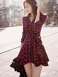 Women's Casual/Daily A Line Dress,Houndstooth Shirt Collar Above Knee Long Sleeves Cotton Spring Fall High Rise Micro-elastic Medium
