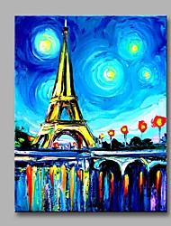 Pintados à mão Arquitetura Vertical,Artistíco Abstracto Europeu Moderno/Contemporâneo Escritório/Negócio Natal Ano Novo 1 Painel Tela