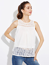 Women's Patchwork Hollow Out Lace Plus Size Vest , Round Neck Sleeveless