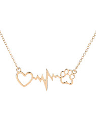 Love Heartbeat with Puppy Footprint Pendant Necklace