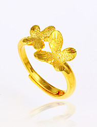 Mulheres cuff Anel Básico Moda Ajustável Elegant Chapeado Dourado Formato de Flor Formato de Laço Formato Animal Borboleta Jóias Para