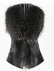 Women's Casual/Daily Street chic Fall Winter Fur Coat,Solid Square Neck Sleeveless Regular Faux Fur