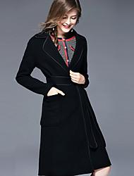 Для женщин Для вечеринок На выход На каждый день Осень Зима Пальто V-образный вырез,Простой Очаровательный Шинуазери (китайский стиль)