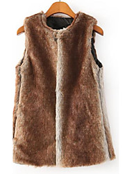 Women's Going out Casual/Daily Work Simple Vintage Cute Winter Vest,Solid Color Block Round Neck Sleeveless Regular Faux Fur