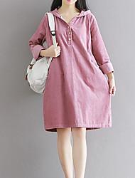 Ample Robe Femme Sortie Décontracté / Quotidien simple,Couleur Pleine Col de Chemise Au dessus du genou Manches Longues CotonPrintemps