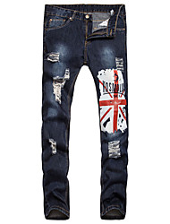 Men's Mid Rise Inelastic Jeans Chinos Pants,Chinoiserie Cute Simple Straight Slim Ripped Print