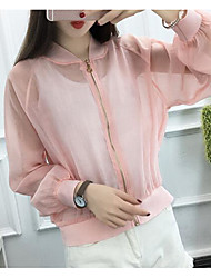 Women's Casual/Daily Simple Summer Jacket,Print Round Neck Long Sleeve Regular Nylon Others