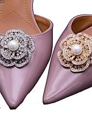 Vintage Flower Shape Pearl Crystal Detachable Decorative Accents Plastic Shoe Clip Anywhere Shoe Accessories Ornaments 1 Pair
