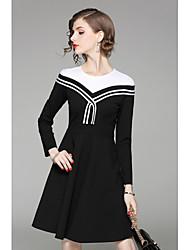 QIN QIN Women's Casual/Daily Sheath DressSolid Striped Shirt Collar Above Knee Long Sleeve Cotton Fall Mid Rise Micro-elastic Medium