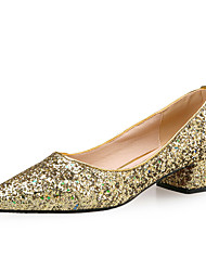 Women's Heels Comfort Novelty Fall Winter Sparkling Glitter Paillette Dress Party & Evening Office & Career Sequin Chunky Heel Gold Silver