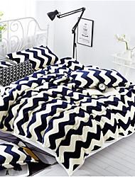 Coral fleece Stripe Polyester Cotton Blend Blankets