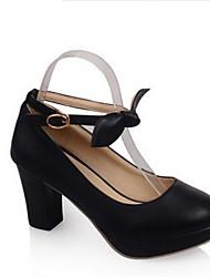 Damen High Heels Pumps Lackleder PU Sommer Normal Blockabsatz Weiß Schwarz Purpur 5 - 7 cm