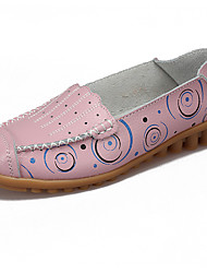 Women's Loafers & Slip-Ons Moccasin Synthetic Microfiber PU Spring Fall Casual Light Blue Blushing Pink Green Coffee Yellow Flat