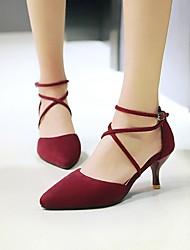 Для женщин Обувь на каблуках Туфли лодочки Нубук Весна Лето Повседневные На каблуке-рюмочке Черный Серый Красный 2,5 - 4,5 см