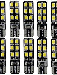 10pcs 2.4w blanc dc12v t10 12led 2835smd conduit auto lampes voiture instrument lumière lampe décorative lampe de lecture plaque