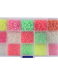 Anmuka 1500Pcs/Box Oval Mixed Size 6 Colors Luminous Fishing Beads Floating Plastic Fishing Beads Fishing Tackle
