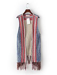Для женщин На выход На каждый день Весна Осень Жилет V-образный вырез,Простой Уличный стиль Контрастных цветов Обычная Длинный рукав,