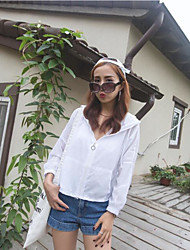 Women's Going out Casual/Daily Simple Summer Trench Coat,Solid Hooded Long Sleeve Short Others