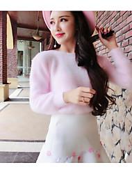 Для женщин На каждый день Обычный Пуловер Однотонный,Круглый вырез Длинный рукав Шерсть Хлопок Осень Зима Толстая Эластичная