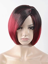 Black Ombre Red Straight Bob Hair Short Wig for Black Women Synthetic Wigs High Temperature Fiber