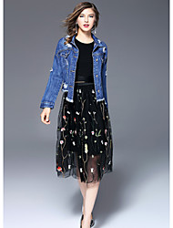 Feminino Jaqueta Para Noite Simples Inverno,Estampado Padrão Poliéster Colarinho de Camisa Manga Longa