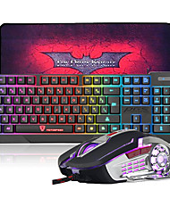 MK70 USB Wired LED Rainbow Backlit Gaming Keyboard and Mouse Combo with Cool Big Size Gaming MousePad