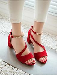 Damen Schuhe PU Sommer Komfort Sandalen Für Normal Schwarz Rot Mandelfarben