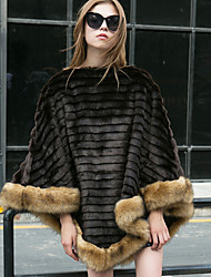 Women's Going out Simple Fall Winter Fur Coat,Solid Round Neck Long Sleeve Regular Faux Fur