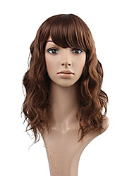 Elegant Big Water Wave Auburn Chestnut Brown Human Hair Lace Wigs Glueless Full Lace With Bangs Wigs