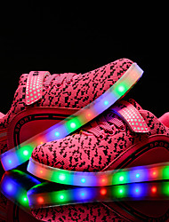 Girls' Sneakers Comfort Light Up Shoes Spring Summer Fall Winter Tulle Walking Shoes Casual Outdoor Lace-up LED Low Heel Black Blue