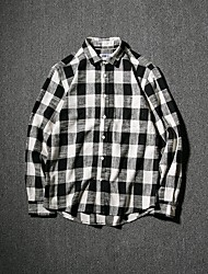 Men's Going out Casual/Daily Vintage Simple Shirt,Check Shirt Collar Long Sleeves Cotton Others