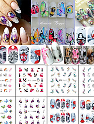 12Styles/Set Nail Art Water Transfer Decals Wonderful Pattern DIY Decoration Beautiful Butterfly Flower Cute Animal Cat Nail Art Design STZ501-512