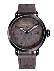 Men's Fashion Watch Quartz Leather Band Black Grey Khaki