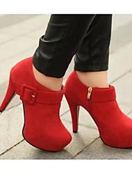 Damen High Heels Komfort Pumps Echtes Leder PU Herbst Winter Normal Schwarz Rot Burgund 5 - 7 cm