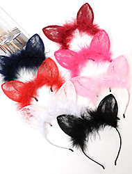 Lace Rabbit Ear Hair Hoop Fox Ears Plush Children Headband Fashion Show Party Hair Ornaments 1PCS