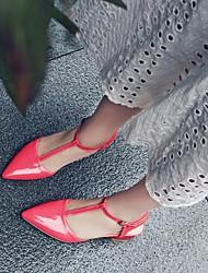 Damen Schuhe PU Sommer Komfort Sandalen Niedriger Absatz Blockabsatz Spitze Zehe Mit Für Normal Rot Blau Rosa